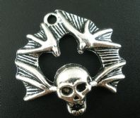 1 Silver Skull with Bat's Wings